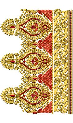 New Border Embroidery Design 18341 Saree Embroidery Design, Border Embroidery Designs, Embroidery On Kurtis, Hand Embroidery Flowers, Indian Embroidery, Free Machine Embroidery Designs, Lace Embroidery, Page Borders Design, Textile Patterns