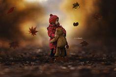 gold autumn children with best friend teddy bear by Arnis Gashi on 500px