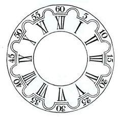 Clock Art, Diy Clock, Roman Clock, Clock Template, Novelty Clocks, Decoupage, Clock Tattoo Design, Chip Carving, Wooden Clock