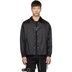 Mastermind Japan Mastermind World Black Logo Coach Jacket Mastermind Japan, Satin Jackets, Velcro Straps, Welt Pocket, Collars, Bomber Jacket, Mens Fashion, Logo, Long Sleeve