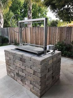Stainless Santa Maria Countertop Drop In Frame with Height Adjustable Rotisserie by JD Fabrications - Barbecue Grill, Grilling, Outdoor Kitchen Countertops, Concrete Countertops, Kitchen Counters, Wood Charcoal, Grill Area, Built In Grill, Built In Charcoal Grill