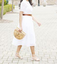 Spring/Summer Outfit Ideas: White Eyelet Dress, White Shirt Dress, White Eyelet Dresses For Summer, Eyelet Midi Dress, White Summer Dresses, Cult Gaia Ark, Gucci Marmont Belt, eShakti Cotton eyelet dress