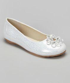 Look what I found on #zulily! Laura Ashley Silver Embellished Shine Flat by Laura Ashley #zulilyfinds