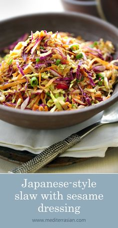 A crispy and colorful Japanese-style slaw with red and green cabbage, carrot, radish and scallions coated with a nutty sesame dressing. Japanese Salad, Japanese Style, Japanese Food, Diner Recipes, Slaw Recipes, Sushi Recipes, Healthy Recipes, Asian Coleslaw, Bon Appetit
