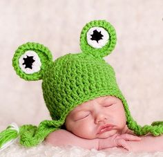 Fun Baby Boy Hat Baby Frog Hat   Baby Girl Hat Lime Green by PamKR