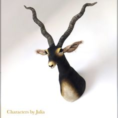 Black antelope, hand stitched vegetarian hunting trophy. Faux taxidermy animal head. Characters by Julia
