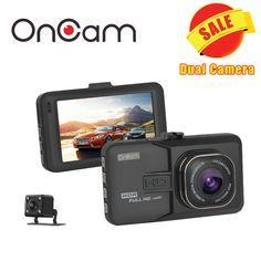 Araba DVR Araç Kamera Dash Kamera Dash Kamera Video Kaydedici çift kamera oncam t636 1080 p full hd 170 derece açı G-sensörü