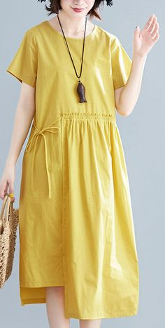 Natural yellow linen cotton Robes o neck drawstring Maxi summer Dresses – Linen Dresses Dress Outfits, Casual Dresses, Fashion Dresses, Linen Dresses, Cotton Dresses, Linen Summer Dresses, Diy Summer Clothes, Diy Clothes, Beautiful Dress Designs
