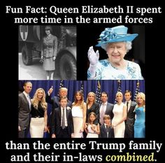 This is True. She drove an ambulance. British Royals always volunteer for military service. Why don't we expect the same from our leaders. Those who have served are less likely to send other people's children to war, if they have been there and done that.