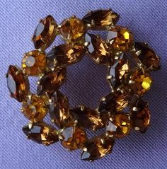 Vintage Small Amber & Topaz Glass Stone Flower Brooch