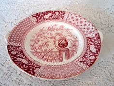 Red and White China Plate with Oriental by SocialmarysTreasures, $9.00