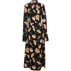 Marni Magnolia Marocaine Long Sleeve Dress (51 660 UAH) ❤ liked on Polyvore featuring dresses, dark lemon, long sleeve a line dress, long sleeve mid calf dresses, lemon dress, marni dress and calf length dresses