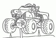 monster truck cool taz coloring page for kids transportation coloring pages printables free wuppsy - Monster Truck Coloring Pages Easy