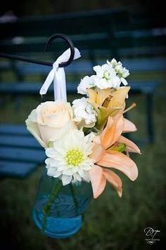 Wedding ceremony decor, flowers in mason jar by Fields in Bloom in Lexington, KY.