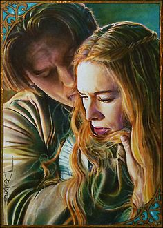 this one I did for my personal collection, I call it 'Stronghold' to illustrate the 'castle' she sees in Jaime, her 'rock' but also cuz he's holding her strong I guess the border is gold painted an...