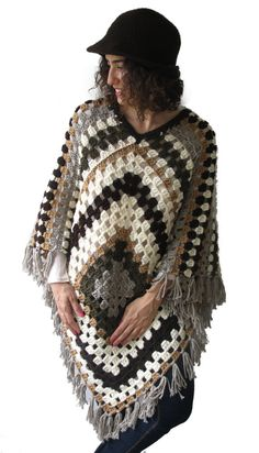 ON SALE Afghan Granny Square Crochet Poncho Plus Size Over by afra