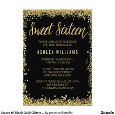 Modern black and gold glitter sweet 16 invitations. This trendy design features a faux glitter border with a chic script font.
