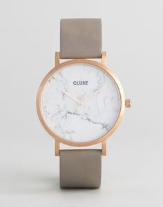 Cluse | CLUSE La Roche Rose Gold White Marble & Grey Leather Watch CL40005