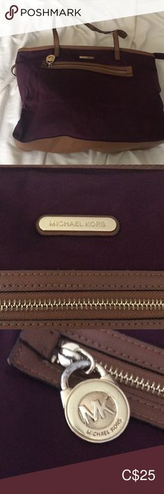 Michael Kors purple nylon tote Handles are cracked, small spots on the nylon, and inside lining has ink stains. You may be able to wash this, I haven't tried. Ink Stains, Nylon Tote, Womens Tote Bags, Michael Kors Bag, Totes, Handbags, Purple, Shopping, Accessories