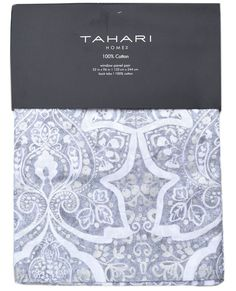 Tahari Grey Silver Floral Medallion 2pc Window Curtain Panels Flowers PAIR 52x96 #TahariHome #Contemporary