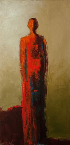 """Solitary Warrior"" by Shelby McQuilkin abstract figurative painting, contemporary figurative painting, red, warrior,"