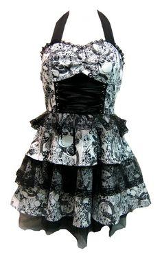 H White Skull Roses & Lace Dress