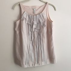 Jcrew fringe sleeveless blouse Jcrew light pink cotton/silk tank with fringed fabric down middle of blouse J. Crew Tops Tank Tops