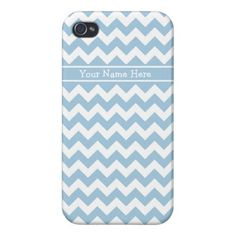 Custom iPhone 4 Savvy Case Blue and White Chevrons iPhone 4 Cover