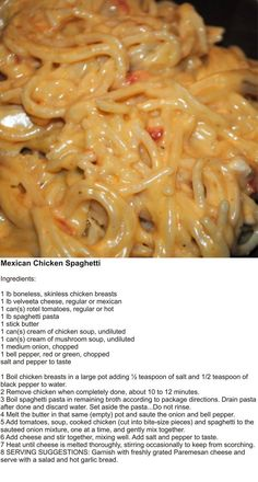 Today is National Spaghetti Day! ❤️ 🍝 Try this uniquely delicious Mexican spaghetti to celebrate the day! Mexican Food Recipes, New Recipes, Crockpot Recipes, Cooking Recipes, Favorite Recipes, Velveeta Recipes, Pasta Recipes, Mexican Desserts, Freezer Recipes