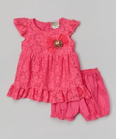 This Pink Lace Angel-Sleeve Dress & Bloomers - Infant by sissymini is perfect! #zulilyfinds