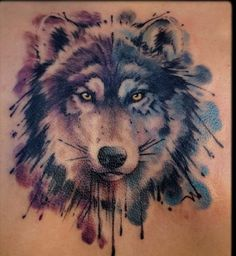 a9751a5cd Watercolor Wolf Tattoo Grey watercolor wolf tattoo tattoobite.com Wolf  Tattoos, Animal Tattoos,
