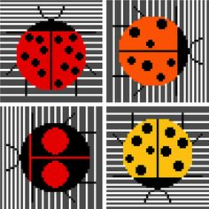 Minimalist ladybirds inspired by Charley Harper. Modern cross stitch design by crossstitchtheline