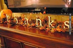 dollar store glasses, sticker letters, fill with cinnamon sticks and fall decor stuff. Perfect for thanksgiving at my house! Thanksgiving Crafts, Fall Crafts, Holiday Crafts, Holiday Fun, Diy Crafts, Thanksgiving Mantle, Happy Thanksgiving, Holiday Ideas, Thanksgiving Blessings