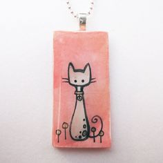 Cat In The Dandelions Pendant by cellsdividing