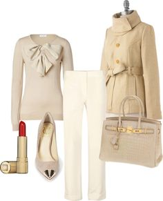 Winter White; all white outfit - love. love the big collar and bow