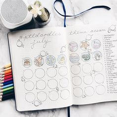 Take a look at how I set up my bullet journal for July. It includes a monthly log, gratitude log, habit tracker and doodle challenge.