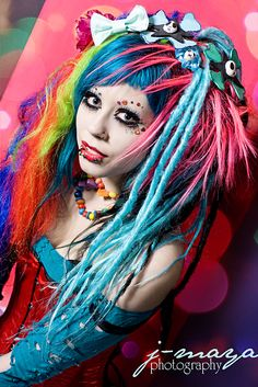 cyberpunk cyberlox dreads dalls Pictures, Images and Photos Scene Girls, Emo Scene, Dark Beauty, Gothic Beauty, Cyberpunk, Kawaii, Estilo Lolita, Style Japonais, Punk Goth
