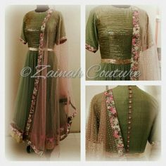 Pastel green anarkali with a hint of print and shower of sequin from Zainah by Pooja Khokha Arora