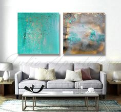 48inch Prints for Bathroom Turquoise and Gold Prints for