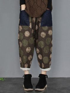 eaad5a24d1f Polka Dot Floral Print Patchwork Elastic Waist Women Pants is necessary for  cold weather, NewChic will show cheap trendy women Pants & Capris for you.