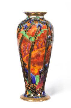 "A Wedgwood Flame Fairyland Lustre ""Imps on a Bridge"" Vase Vintage Ceramic, Ceramic Art, Wedgwood Pottery, Fairy Land, Museum Of Fine Arts, Porcelain Ceramics, So Little Time, Pottery Art, Luster"