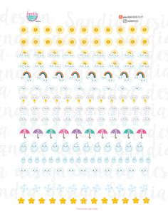 Printable Weather Stickers, Planner Stickers, perfect for EC Planner and other Planners. de SandiaStickers en Etsy