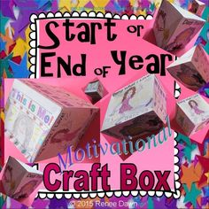 """Back To School activities: craft box printable to add writing and illustrations, color, cut and glue. Back to School and Start the School Year Right: ideas, quotes, and images.   A great ice-breaker to meet and get to know your new classmates.   Desktop art piece will help kids focus on the start of the school year's dreams, accomplishments, and best behavior: 2 ½ """""""