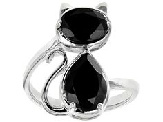 1.33ct Oval And 2.03ct Pear Shape Black Spinel Sterling Silver Cat Ring