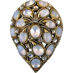 Vintage Florenza Opalescent Glass And Rhinestone Teardrop Pin