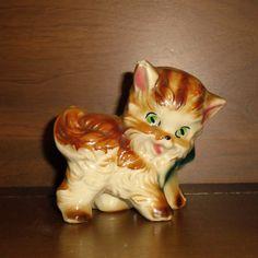 Vintage kitten ceramic mini planter
