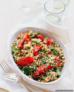 Roasted-Tomato Tabbouleh Recipe - this looks like a wonderful combination of ingredients...i'm planning to use quinoa instead of the bugler wheat to fit it in the 21-day phase  :)