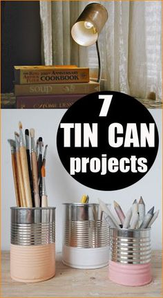 7 ways to re-cycle and re-use tin cans.  Cool projects for around the house.  Soup can designs.