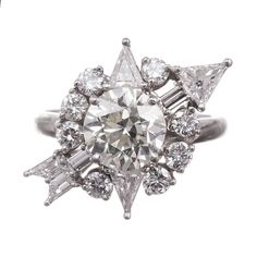 "Mid-Century Diamond ""Compass"" Ring"