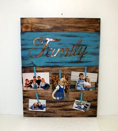 Family Rustic Wood Sign Picture  - Primitive Home Decor- Custom Wood Family Gift- Western Photo Frame- Reclaimed Cedar, Gift for Mom by DakotaCountry on Etsy